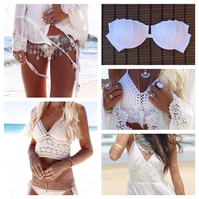 Biquini branco cor para usar na praia